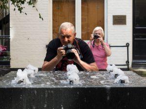 Our Chairman photographs a fountain near Samuel Johnson's house