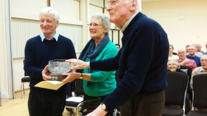Jean Hoyle  received the Keith Hunt AV Trophy from walter Benzie and Keith Hunt